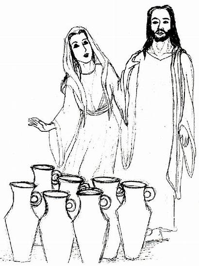 Jesus Miracles Miracle Coloring Pages Drawing Cana