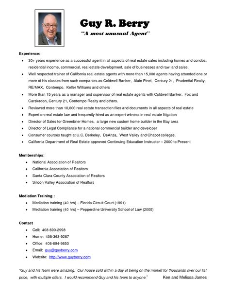 real estate resume exles berathen
