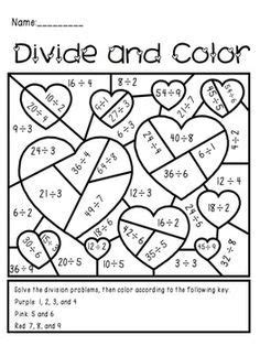 valentines day divide  color activity fraction activities fractions math fractions
