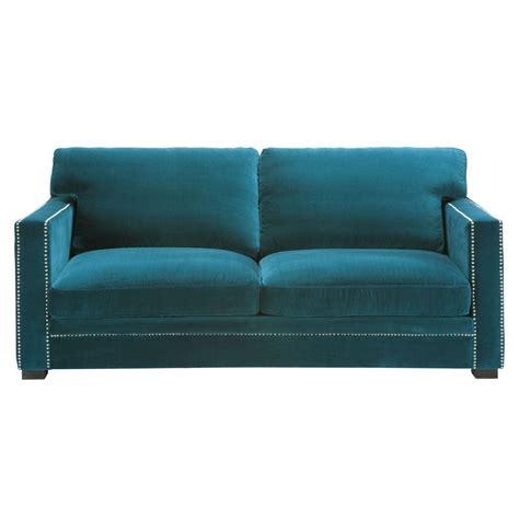 canape en velour canapé 3 4 places en velours bleu dandy maisons du monde