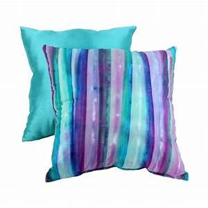 Pillow Perfect Decorative Watercolor Striped Square Toss