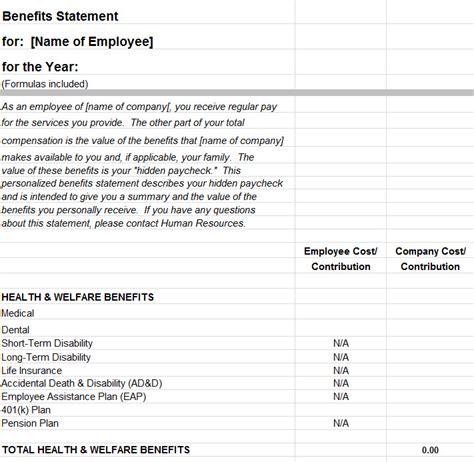 employee benefits statement template  excel templates