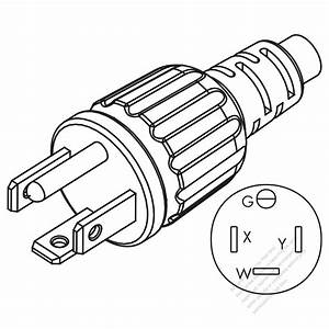 Usa  Canada Nema 14-20p 3 P   4 Wire Grounding Straight Ac Plug  20a 25v  250v