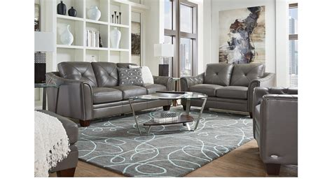 177700 Marcella Gray Leather 2 Pc Living Room