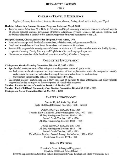 early childhood specialist resume exle