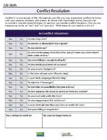 Conflict Resolution Life Skills Worksheet