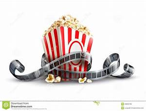 Paper Bag With Popcorn And Movie Reel Royalty Free Stock ...