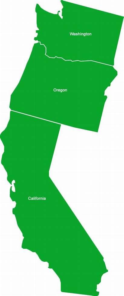 California State Coast West Outline Washington Map