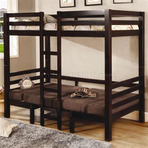 brown finish modern twin  twin convertible loft bunk bed