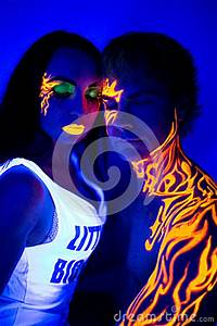Creative Neon Light Man And Woman Beauty Make Up Body Art