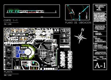 Center of Gastronomy 2D DWG Design Plan for AutoCAD