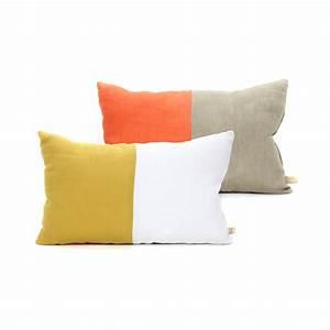 Coussin Gris Et Jaune : coussin en lin 25 x 40 cm orange jaune lab pour chambre ~ Dailycaller-alerts.com Idées de Décoration