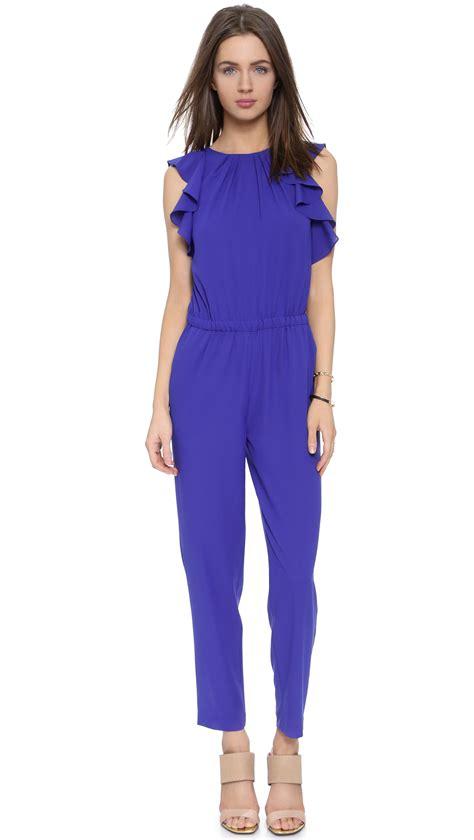 blue jumpsuits shoshanna jumpsuit royal blue in blue royal