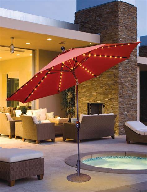 led outdoor umbrella galtech 9 aluminum auto tilt patio umbrella with led 3710