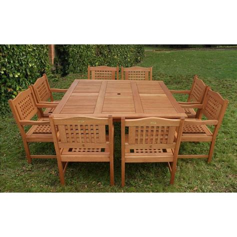 amazonia dale 9 eucalyptus square patio dining set