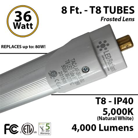 8 foot led t8 light replace fluorescent 5000k 4000