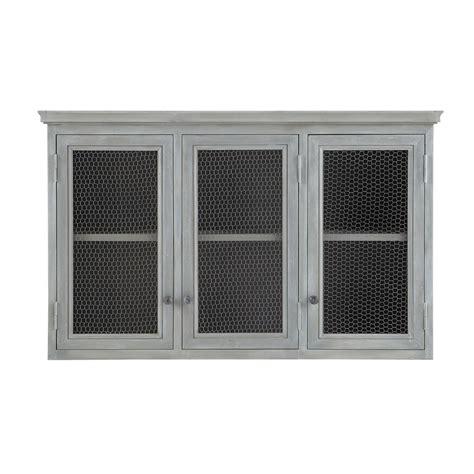 meuble haut cuisine bois meuble haut de cuisine en bois d 39 acacia gris l 120 cm zinc