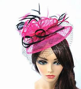 Pink Fascinator, Womens Tea Party Hat, Hat with Veil ...