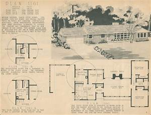 Mid Century Ranch Style 1950 Home Building Plan Service