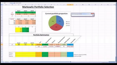 markowitz portfolio selection  excel solver youtube