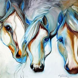 3 NOBLES ~ EQUINE ABSTRACT ART ORIGINAL - by Marcia ...