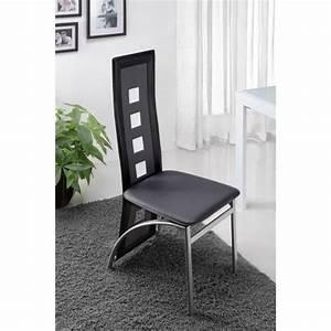 Eiffel lot de 6 chaises de salle a manger noires et for Salle À manger contemporaineavec lot de chaise pas cher