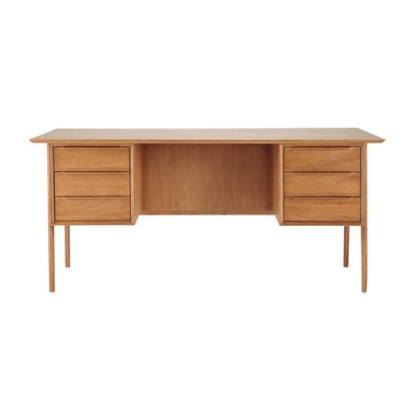 bureau en u bureau vintage en chêne massif doré l 166 cm portobello