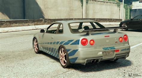 Skyline Paul Walker by Nissan Skyline R34 Paul Walker 2fast 2furious For Gta 5