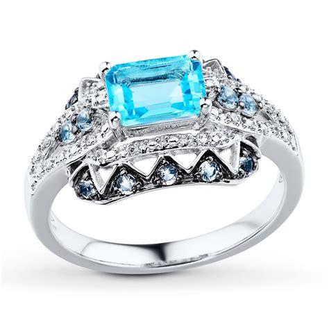 aquamarine blue topaz  ct tw diamonds  white gold ring  kay