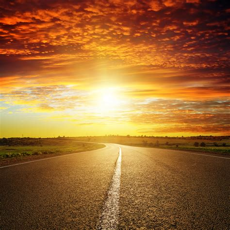 Red Sunset Over Road By Macinivnw On Deviantart