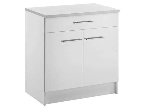 meuble bas 80 cm 2 portes 1 tiroir spoon shiny blanc