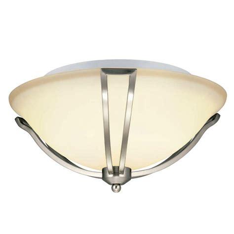 hton bay gambit 3 light flushmount satin nickel ceiling