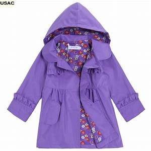 Kids Girls Boys Waterproof Hooded Long Sleeve Raincoat ...
