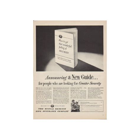 1949 mutual benefit life insurance company ad quot announcing a new guide quot