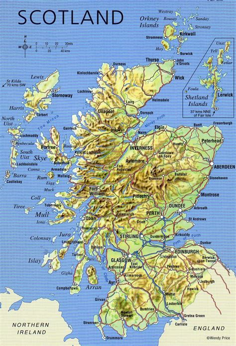 large detailed map  scotland  relief roads major