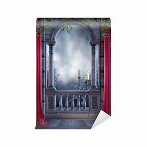 fototapete gothic balkon mit vorhangen und kerzen o pixers With balkon teppich mit gothic tapete