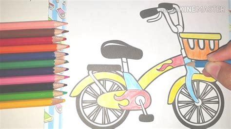 mewarnai gambar sepeda menggunakan pensil warna
