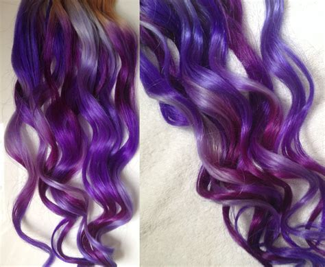 Purple Ombre Dip Dyed Hair Clip In Hair Extensions Tie Dye