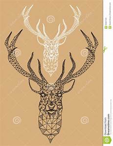 Christmas Deer With Geometric Pattern, Vector Stock Vector ...