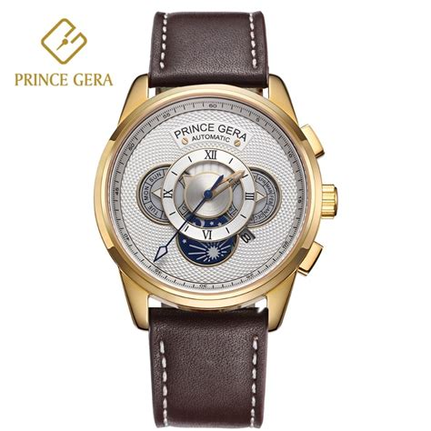 prince gera 18k gold luxury automatic watches golden watch case four dial month day week display