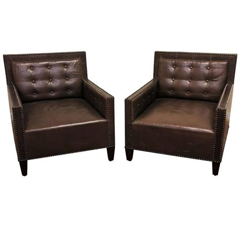 tufted leather chair turquoise pair of brown leather tufted club chairs with nail