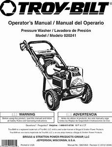 Troybilt 020241 User Manual Pressure Washer Manuals And