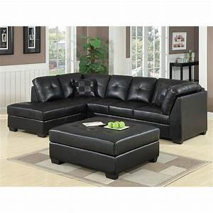 Coaster darie leather sectional sofa with ottoman in black for Darie leather sectional sofa