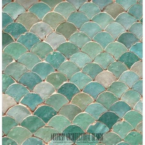 blue kitchen backsplash moroccan fish scale tile pattern