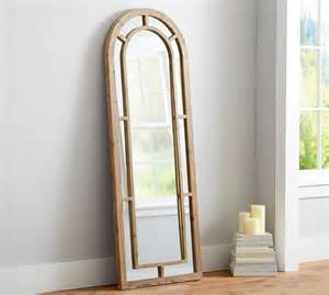 distiller arched wood floor mirror pottery barn