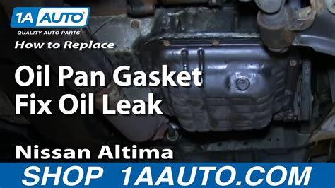 replace oil pan gasket fix oil leak   nissan
