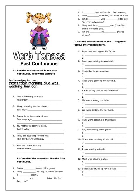 verb tenses past continuous ii worksheet