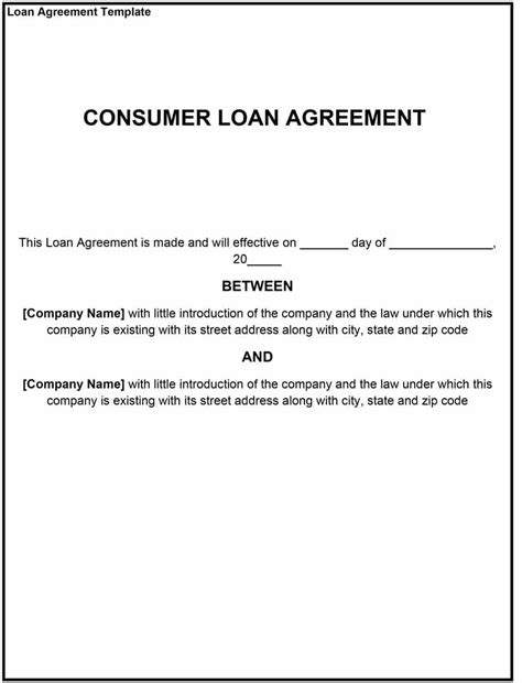 Loan Contract Template 40 Free Loan Agreement Templates Word Pdf Template Lab