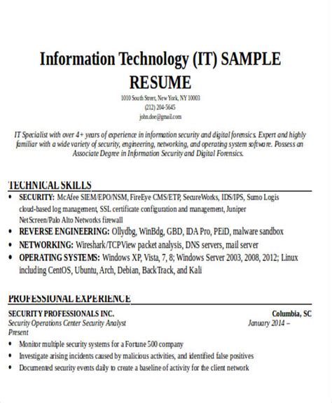 Resume For It by 24 It Resume Templates Pdf Doc Free Premium Templates