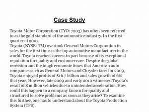 Case Study On Toyota